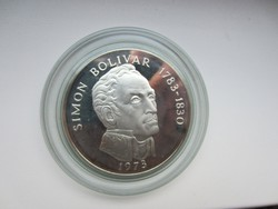 Simon Bolivar Balboas Panama 0.925 ezüst érme 1974 132gr PP