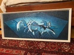 Kék lovak, olaj - farost 103x43 kerettel
