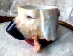 Régi dohánytartó szivartartó pipás kutya--humidor
