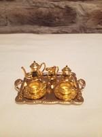 Miniatűr sárgaréz teás szett 1:12