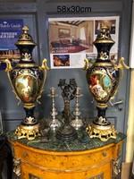 Sevres style dupla képes váza pár