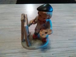 Festő kisfiú porcelán szobor