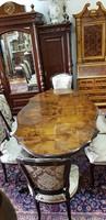 Restaurált neobarokk étkező étkezőasztal 6 db székkel