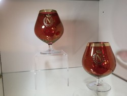 Hibátlan! Napoleon konyak promóciós piros, aranyozott üvegpoharak 2 db