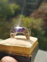 Modern Ametiszt Ezüst 51-es Méretű Gyűrű Szép Tiszta Kővel
