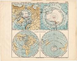 Északi - és Déli - sark térkép 1913, teljes atlasz, Kogutowicz Manó, félgömb, víz, szárazföld, régi