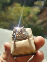 Modern Swarovski köves Ezüst 56-os Méretű Gyűrű Csillogó Tiszta Kővel