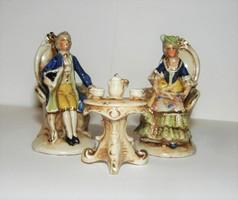 Alt Wien kávézó barokk pár 3 darabos vitrin dísz