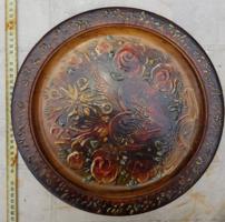 Szignós, fatálra festett olajfestmény, 33 cm átmérőjű