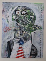 Fazekas János László Yana: Oil (Mr Amerika) c. festménye
