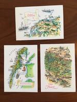 Vintage, retro postatiszta képeslapok 3db (VEB Bild und Heimat, Reichenbach)