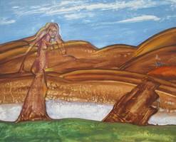 Tóth Lajos kárpátaljai festőművész: A hegyek múzsája (70 x 84, olaj, farost)