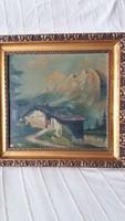 Alpesi ház tájban keretezett olaj, vászon festmény