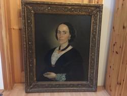 Ismeretlen biedermeier női portré rokokó keretben