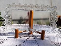 Gyönyörű, antik hibátlan robosztus 30cm hosszú üvegtálca eladó