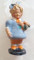 Régi kerámia figura art deco kislány virágcsokorral 9.5 cm