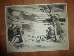 Szőnyi István: Gyermekek a dombtetőn, eredeti rézkarc, 1933