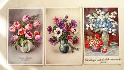 Régi képeslap virágos 3 db üdvözlőlap 1940 körül