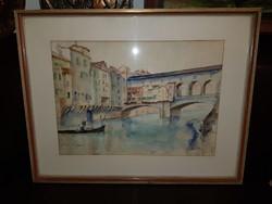 Florenz/Ponte vecchio, Firenze, gyönyörű akva, 64x50-es keretben, tökéletes állapotban
