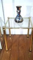 1960-as évekbeli olasz design , üveg polcos réz  asztal, asztalka