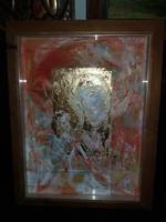 Modern ikon festmény, olaj, alubetétes gyönyörű keretben, Szabó '95 szignóval, falra kész!