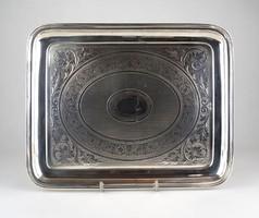 0X967 Régi díszes 800-as ezüst tálca 560 g