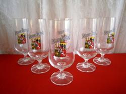 Nagyon ritka Bohemia kristály pohár készlet 6 db Pilsner Urgvell talpas pohár aranyozott szájjal