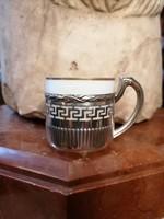 Ezüst kávés csésze porcelán betéttel. Görög minta.