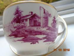 HÖCHST,a második legrégibb Európai manufaktúrától,csésze alátéttel EGYEDI kézzel festett tájképekkel