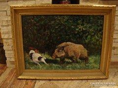 Támadó vaddisznó festmény