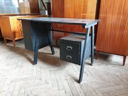 Fiókos festett régi retro fa íróasztal asztal