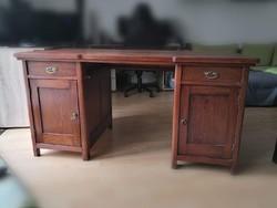 Cseresznyefa, szecessziós íróasztal, óriási tárolási felülettel, olcsón elvihető
