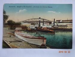 Régi képeslap: Komárom, Részlet a Kis Dunáról, 1916
