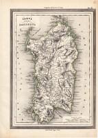 Szardínia térkép 1861, olasz, eredeti, atlasz, sziget, XIX. század, Európa, Földközi - tenger