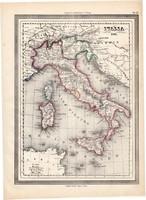 Olaszország térkép 1861, olasz, eredeti, atlasz, Európa, Földközi - tenger, Szícilia, Szardínia