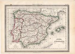 Spanyolország és Potugália térkép 1861, olasz, eredeti, atlasz, Európa, Ibériai - félsziget