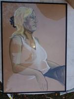Nagy tempera, egész alakos ülő portré, üveg mögött, 50x70+keret