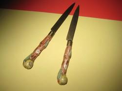 Antik porcelán nyelű kis kések ,2 db , 16,5 cm hosszú és jelzett