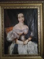 """""""Barabás"""" szignóval női portré"""