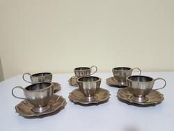 Vastagon ezüstözött Alpakka kávés 7db készlet csészék alátéttel és kiöntő jelzett