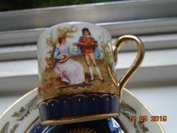 Altwien miniatűr festményszerű 3 zsánerjelenettel panoramikus tájban,mokkás csésze alátéttel