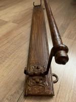 Antik fa törölközőtartó , antik polc , fogas . Népi antik bútor