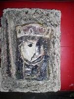 Királynő - zománcozott beton-dombormű, -33 x 24 cm,- Lehoczky József