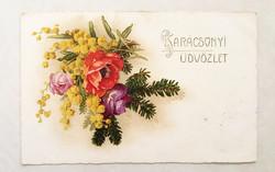 Régi karácsonyi képeslap 1926 mimózás virágos