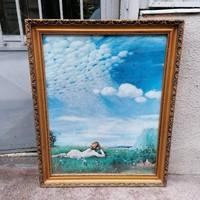 Üvegezett arany-fa képkeret falc 73x57 cm