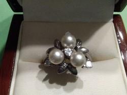 Antik gyöngyös cirkón köves ezüst gyűrű
