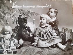 Régi karácsonyi képeslap vintage fotó