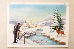 Régi újévi képeslap őzikés kéményseprős üdvözlőlap