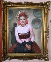 Csodás Nő, kalotaszegi népviseletben. Jelzett olajfestmény vásznon, kerettel együtt 99x79 cm