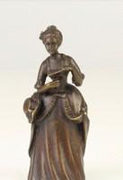 Nőalakos bronz asztali csengő-szobor